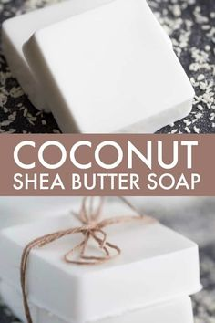 diy soap Coconut Shea Butter Soap - Making your own soap couldnt be any easier! This Coconut Shea Butter Soap smells heavenly and feels luxurious on your skin. Coconut Oil Soap, Shea Butter Soap, Soap Making Recipes, Homemade Soap Recipes, Homemade Soap Bars, Making Bar Soap, Savon Soap, Oatmeal Soap, Homemade Beauty Products