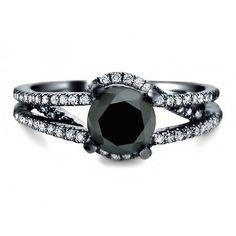 Amazon.com: 1.70ct Black Round Diamond Engagement Ring 14k Black Gold: Jewelry