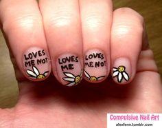 cute daisy nailart for valantine's day