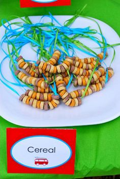 surf's up third birthday party cereal surf shell necklaces