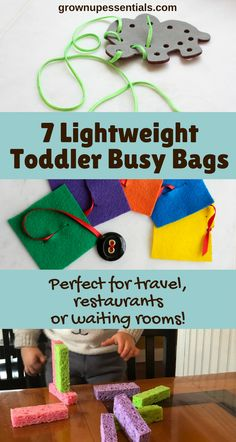 Wouldn't it be magic if your toddler could quietly entertain herself at restaurants? Well busy bags ARE that magic. Here I list 7 busy bags I actually use that don't add weight to my diaper bag. Excellent for travel! Toddler Travel Activities, Infant Activities, Toddler Preschool, Preschool Activities, Airplane Activities, Indoor Activities, Summer Activities, Family Activities, Toddler Busy Bags