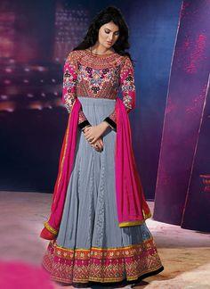 Grey N Pink Stunning Salwar Kameez Anarkali