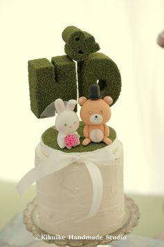 bear and rabbit,bunny wedding cake topper