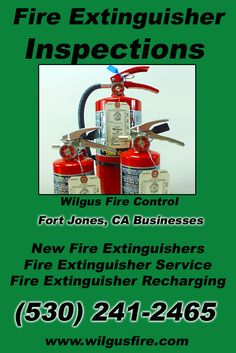 Fire Extinguisher Inspections Fort Jones, CA (530) 241-2465.. Local California Businesses you have found the complete source for Fire Protection. Fire Extnguishers, Fire Extinguisher Service.. We're got you covered.. Wilgus Fire Control