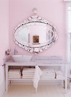 Pink Bathroom via Domino