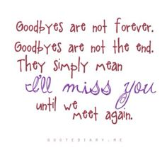 Goodbyes are not forever   Goodbyes are not the end.  They simply mean I'll miss you until we meet again.