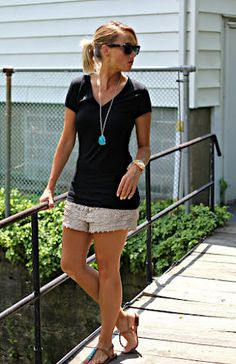 black tee, crochet shorts and turquoise