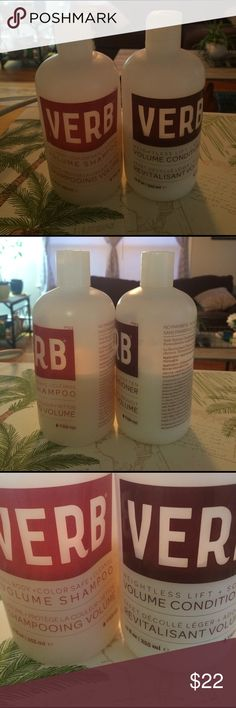 VERB volume shampoo and conditioner About 50% full. These are originally the full size bottles. Purchased about 3 months ago. No trades! Perfect for thin and fine hair! VERB Accessories Hair Accessories