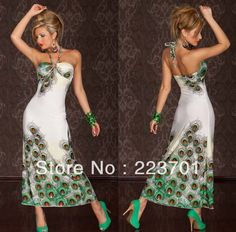 Plus Size Long White Summer Casual Beach Dresses New Fashion 2013 Peacock Print Halter Neck Dress For Cocktail Free Shipping $16.99