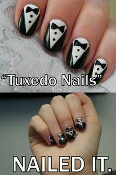 Tuxedo Nails.  Nailed It.
