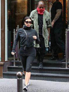 Kim Kardashian and fiance Kanye West spotted leaving the gym after a pre-wedding workout in Paris. Celebrity Workout, Celebrity Fitness, Kim And Kanye, Baby On The Way, Celebs, Celebrities, Kanye West, Kim Kardashian, Streetwear Brands