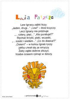 Lew Ignacy - wierszyk - Printoteka.pl Speech Therapy, Literacy, Education, Baby, Kids, Speech Language Therapy, Speech Pathology, Young Children, Boys