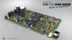 Work in progress: Blender 3D modell of an Atari 1050 disk drive. Rendering of the PCB.