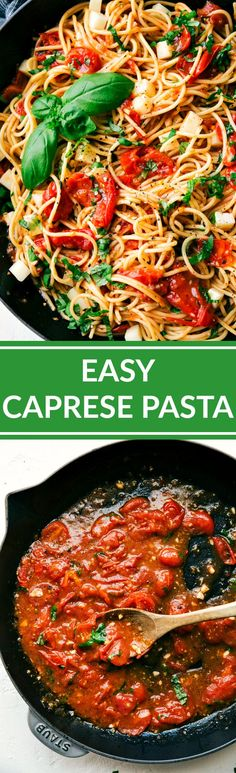 Easy CAPRESE PASTA -- so quick and amazingly delicious! Angel hair pasta tossed with a cherry tomato and Zesty Italian sauce and topped with fresh mozzarella cheese and shredded basil. Recipe via chelseasmessyapron.com