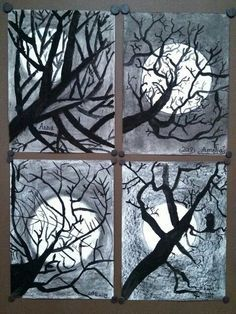 http://media-cache-ec0.pinimg.com/originals/68/41/70/68417090ab295c6e126b4a0fd4583459.jpg  tempera trees over charcoal....2nd grade