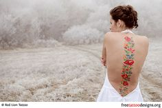 Colorful Flowers Tattoo Design For Ladies On Back