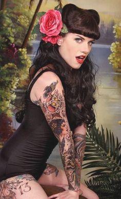 ladies in tattoos.
