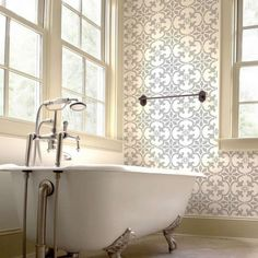 Cutting Edge Stencils created the Fabiola Tile Stencil based on traditional Portuguese Azulejos tile designs, this tile stencil is perfect for creating a gorgeous accent wall, kitchen tile backsplash, stenciled staircase, table top or floor! http://www.cuttingedgestencils.com/fabiola-tile-stencil-spanish-portugese-tiles-stencils.html