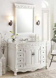 "48"" Antique White Florence bathroom sink vanity w/ mirror Model BC-036W-AW-48 Benton Collection http://www.amazon.com/dp/B00TGD0U16/ref=cm_sw_r_pi_dp_6K7Xvb0C6HEJV"