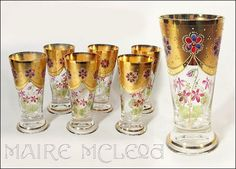 These are gorgeous antique glasses.  These glasses could be unsigned Moser, they could also be very fine Bohemian art glass.
