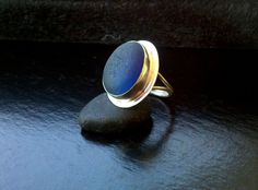 Sea Glass Ring Big cobalt blue in Sterling and Fine silver
