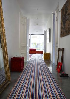 Hallway with striped carpet runner urban living. Styled by Diana Civil and Carpetright. Decor, Home, Modern Flooring, Hallway Flooring, Flooring, Modern Hallway, Bedroom Carpet, Urban Living, House And Home Magazine