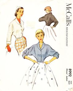 McCall's 8992 Misses' Vintage 1950s Jacket with Shawl Collar Sewing Pattern by…