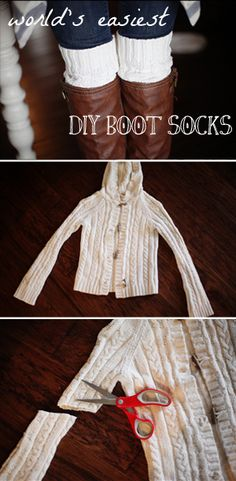 DIY boot socks - an old sweater or a cheap one from a thrift store! Boot Cuffs, Boot Socks, Alter Pullover, Craft Projects, Sewing Projects, Diy Vetement, Do It Yourself Fashion, Old Sweater, Sweater Boots