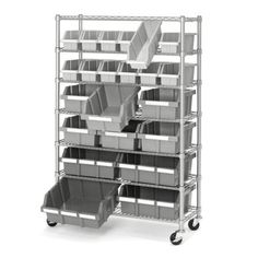 Get organized with this commercial bin rack system. The polypropylene bins  slide out easily and lock into place for