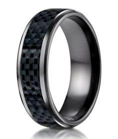 Mens Black Titanium Wedding Band with Carbon Fiber Inlay