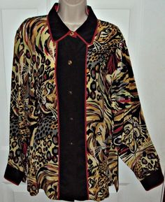 Bob Mackie Wearable Art Silk Blouse Size Large Black Leopard Abstract Print