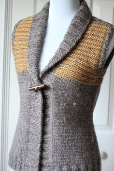 Freeport Vest by Elizabeth Smith. Love the mustard and grey. But I'll do it in all white.