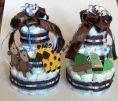 Diaper Cake Set of 2 Noah's Ark 3tier by PamsBabyBakery on Etsy, $50.00