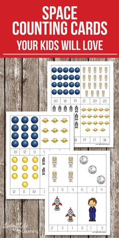 Grab these space counting cards to start counting from 1 to 20. An easy way for any child to get counting and have fun at the same time. Perfect for preschoolers and kindergarten students.  #space #solarsystem #math #counting #preschool #homeschool