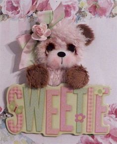 """Sweetie"" Tear Bear Pink Furry   for premade pages or Album   ELITE4U   * CTD*"