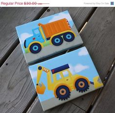 SALE Set of 2 Mini Bright Construction Truck 5x7 Stretched Canvases Baby Nursery CANVAS Bedroom Wall Art on Etsy, $25.50