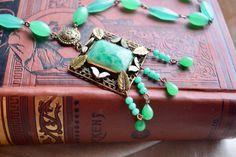 Antique Art Deco Peking Glass and Enamel Choker Necklace, Green Jadite Beads, Dangle Pendant, Gift for Her by CrownofLifegems on Etsy https://www.etsy.com/listing/494868532/antique-art-deco-peking-glass-and-enamel