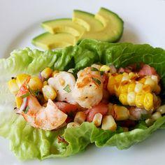 Grilled Shrimp and Organic Corn Salsa Lettuce Wraps