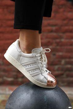 promo code fe3c2 1acf4 White Sneakers For Girl  copper + white–Adidas Superstar Copper Toe…