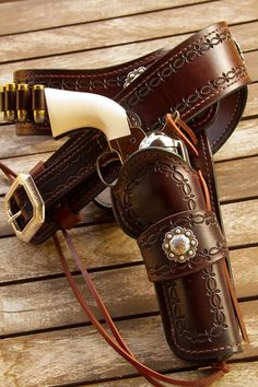 """""""One very satisfied customer."""" Holster and Gun belt made by Brett Park at Circle KB. Photo credit and our appreciation to customer Tory Bishop-SR Cowboy Holsters, Western Holsters, Custom Leather Holsters, Cowboy Action Shooting, Pistol Holster, Cowboy Gear, Le Far West, Leather Projects, Guns And Ammo"""
