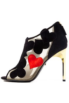 Sweetheart Booties! Heart Appliqué  High Heel Shoes Sandals Fashion Accessories Style Designer Diane von Furstenberg - Shoes - 2014 Fall-Winter