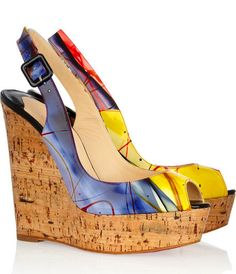Christian Louboutin Une Plume 140 Patent Leather and Cork Wedges