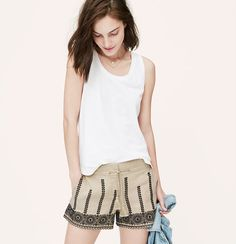 LOFT - Embroidered Linen Drawstring Shorts With 4 Inch Inseam