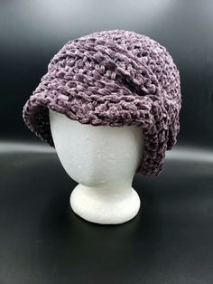 Purple Large & Floppy Velvet Charleston Hat with silver sparkles by OhanaBoutiqueCrochet on Etsy