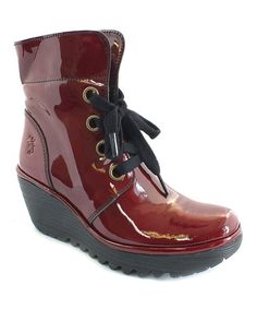 Look at this #zulilyfind! Burgundy Patent Leather Yel Wedge Boot by FLY London #zulilyfinds
