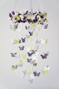 Butterfly Mobile in Purple Lavender Green & White-