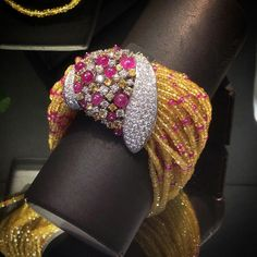 At @scavia_official. Soft as silk this Fedra bracelet with diamonds, ruby beads and yellow sapphire beads