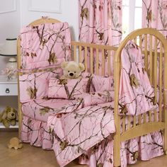 Pink camouflage baby bedding and camo nursery decorating ideas for baby girls. Crib sets with matching curtains and nursery decor in pink camo. Camo Crib Bedding, Baby Bedding Sets, Crib Sets, Bed Sets, Nursery Bedding, Pink Bedding, Luxury Bedding, Toddler Comforter, Bedding Shop
