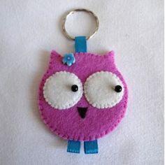 Porte-clefs en feutrine, bleu et rose Chouette Lulu
