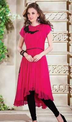 Bright Pink Georgette Asymmetrical Kurti Price: Usa Dollar $172, British UK Pound £101, Euro126, Canada CA$ 184, Indian Rs9288.